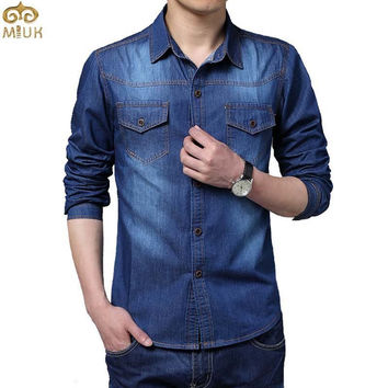Large Size Camiseta Masculina 5XL Cotton Slim Fit Brand Clothing Denim Men Shirts 2016 New Long Sleeve Blue Gray Chemise Homme
