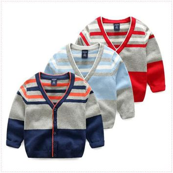 Children sweater cardigan cotton 2017 spring boy sweater jacket baby child baby knit cardigan