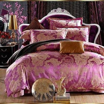 Luxury 4pc. Satin Jacquard Purple Gold King Size Cotton Duvet Cover Bedding Set