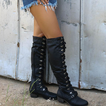 Far From Home Tall Black Lace Up Buckle Riding Boots With Stitch Detailing