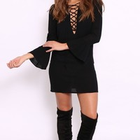 RAE Black Lace Up Swing Dress by Dolly Rocka