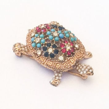 NEW YEAR SALE, Ciner Pin or Brooch, Turtle, Turquoise, Rhinestone, 1950s Vintage Jewelry, Gift for Her