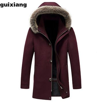 2017 Men's Fox collars woolen Trench Coat business casual jacket Men Long Cashmere Coat woolen Trench Coat Men Hat Detachable