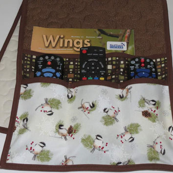 Quilted Armchair Caddy, Bedside Caddy, Chickadees Pine Branches and Cones