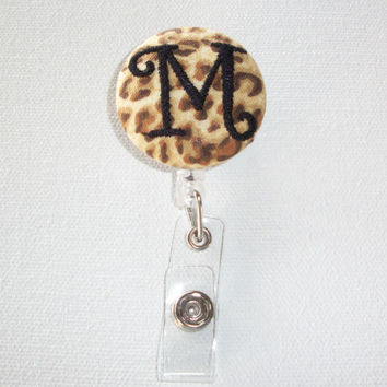 Retractable ID Badge Holder Reel - Fabric Button - cheetah animal print with monogram initial custom