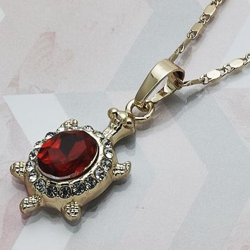 Gold Layered Women Turtle Fancy Necklace, with Garnet Crystal, by Folks Jewelry