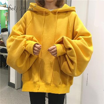 Self Duna 2017 Autumn Women Black Hoodie Plus Size Oversized Hoodie Yellow Hip Hop Cropped Warm Fleece Female Hooded Sweatshirt
