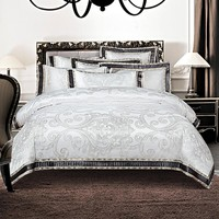 IvaRose 4/6-Pieces silk cotton Jacquard Luxury Bedding Set white Color Bed Set King Queen Bed Linens Duvet Cover Bed Sheet