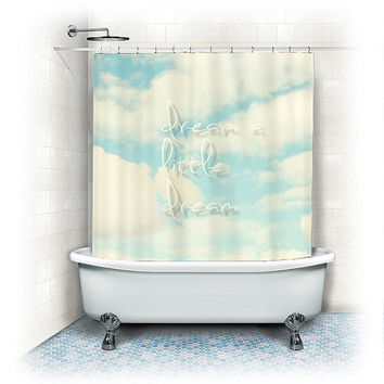 "Shower Curtain ""dream a little dream"" clouds, sky, white, blue, whimsical, typography, text, quote, bathroom, home decor, pastel"