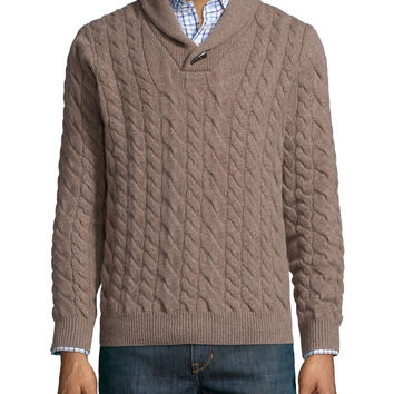 Cable-Knit Cashmere Pullover Sweater, Tan, Size: