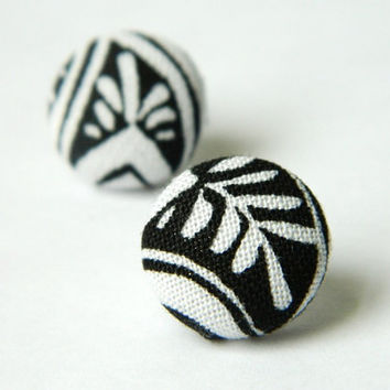 Button Earrings Black White Abstract  Aztec by PushTheButtons