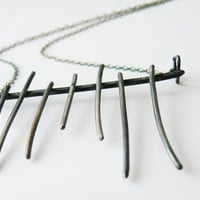 Tribal Abstract Necklace Cage Pendant Sterling Silver Oxidized Silver Statement Necklace by SteamyLab