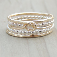 INFINITY Gold and Silver Ring Set of Five // Bohemian mixed ring set // Gipsy Lovely Layers  // made to order