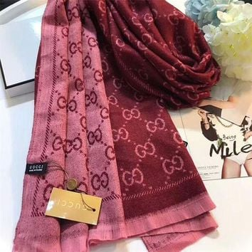 ONETOW Luxury Gucci Keep Warm Scarf Jacquard Scarves Winter Wool Beautiful Shawl Red Pink