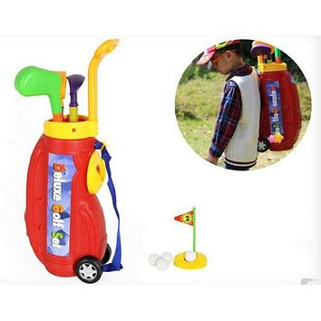 10pcs Children Kids Indoor Plastic Mini Golf Toy Set With Carrying Bag