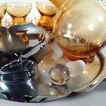 Amber Glass Ball Decanter and Cordial Set by Cambridge Glass Company Circa 1930's