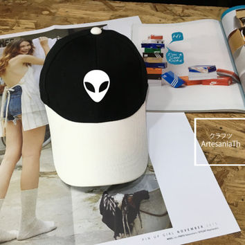 Alien Baseball Cap, UFO hat, nasa , Low-Profile Baseball Cap Hat Tumblr Inspired Pastel Pale Grunge