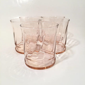 Pink Glass Tumblers by Libbey, Set of 5 Swirled Pink old Fashioned Glasses