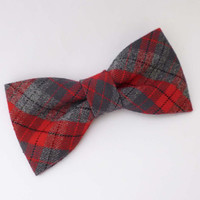 Red plaid bow tie for men pre tied adjustable or clip on style fall and winter menswear fashion