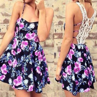 Black Floral Print Spaghetti Strap Lace Dress