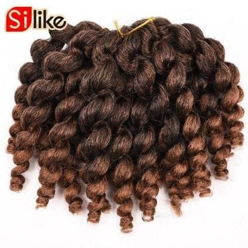 ICIKION Silike 6 packs/lot Ombre Crochet Jamaican Bounce Twist Braids 8' 22 Roots Jumpy Wand Curl Hair Extension African Collection Hair
