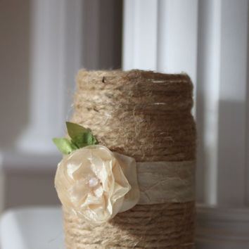 Twine wrapped Mason Jar, Vase, Wedding Centerpiece, Rustic Home, Rustic Wedding, Romantic, Farmhouse Accent, Country Chic