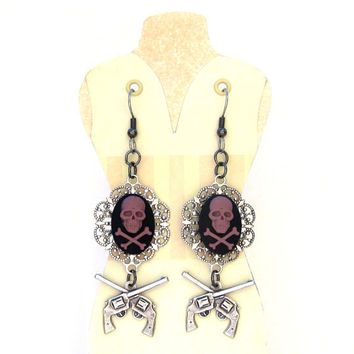 Skull and Crossbones pirate earrings with guns