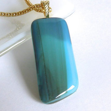 Fused Glass Pendant in Streaky Turquoise and Green