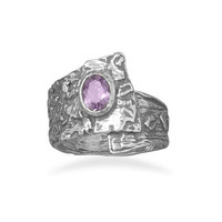 Oxidized Overlap Design Ring with Purple CZ