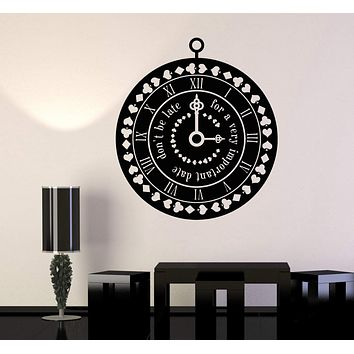 Vinyl Wall Decal Clock Time Suit Cards Fairy Tale Nursery Design Stickers Unique Gift (1028ig)