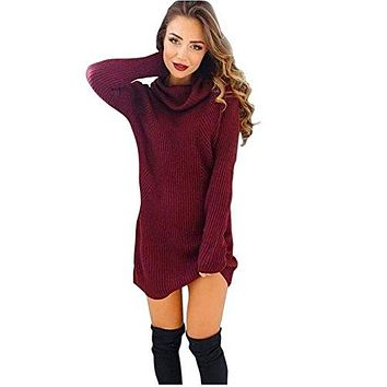 TOOPOOT Women Winter Warm Turtleneck Long Sweaters