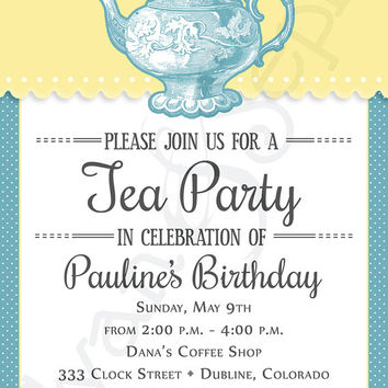 Printable Tea Party Birthday Invitation - 5x7 - Vintage Blue - Delft Pastel Teal Buttercup Lemon Yellow Retro Polka Dot Teapot
