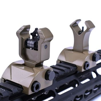 Tactical Hunting Accessories Ar 15 Tactical Flip Up Front Rear Sight Sights Set Iron Diamond Apertures Dual Windage Adjustment