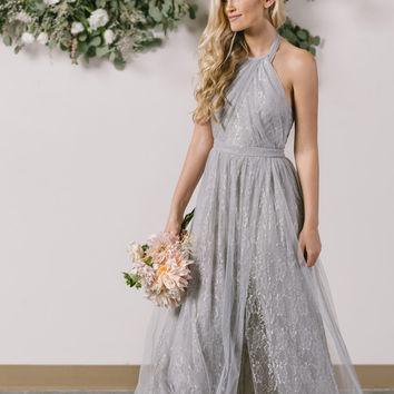 Isabelle Grey Tulle Lace Halter Maxi Dress