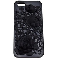 CASE123 3D Flower Soft TPU Gel Skin Case Cover for Apple iPhone 5 / 5s - Black