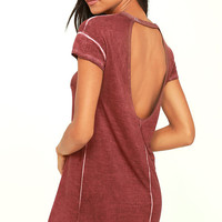 RVCA So Chill Washed Burgundy Shirt Dress