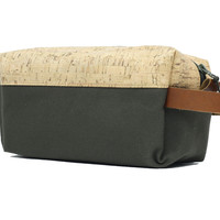 Olive Green Cork, Canvas & Leather Ultimate Dopp Bag