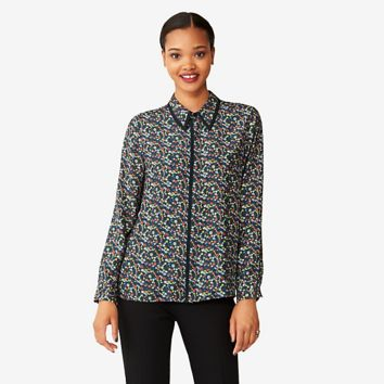 Kate Spade Saturday Piped Perfect Day Shirt In Wild Floral/ink