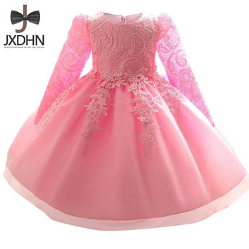Winter Baptism Girls Kids Dresses Flower Girl infant tutu Dress Newborn 1 year birthday Princess kids Dress Baby Girl clothes