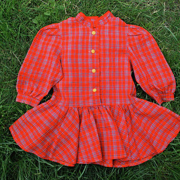 1960's Girl's Check Dress / USSR Vintage Red Plaid Wool Blend Toddler Dress: Full Circle Skirt, 3/4 Sleeves |------->  Age 3 to 4