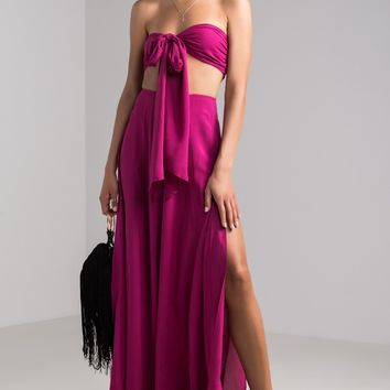 AKIRA High Waist Wide Split Leg Pants in Magenta