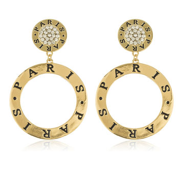 Goldtone Iced Out Circle Paris Dangle Stud Earrings