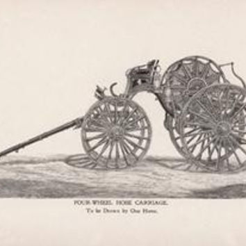 Four-Wheel Hose Carriage: To be Drawn by One Horse: Fine art canvas print (12 x 18)