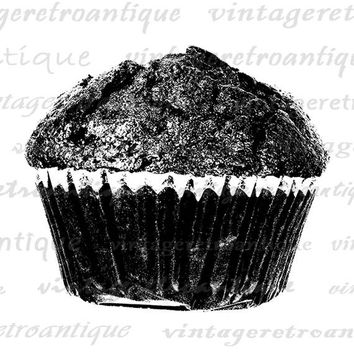 Printable Digital Chocolate Muffin Graphic Download Illustration Image Vintage Clip Art for Transfers Making Prints etc HQ 300dpi No.1978