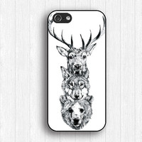 Deer Wolf Bear iPhone 5s Case,Deer Wolf Bear iPhone 5 Case,Deer Wolf Bear IPhone 4 case,IPhone 5c case,IPhone 4s case,soft Rubber case