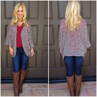 Shining Bright Knit Cardigan - BURGUNDY