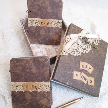 Wedding Vow Book Set - Shabby Chic- Vintage Inspired- Brown - Pink - with Matching Keepsake Box
