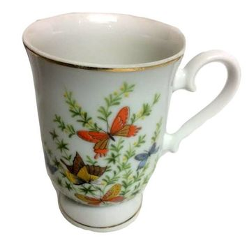 Shafford Porcelain Footed Mug Butterflies Mid Century