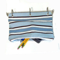 Pencil Case for 3 Ring Binder with Zipper Blue by malibuquilts