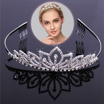 Crown Hair Jewelry Bridal Wedding Pageant Hair Headdress [7983230919]